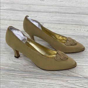 Ferragamo Gold Satin Knot Pumps - sz 7.5 AA